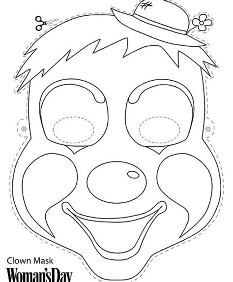clown mask template free color print masks the big top
