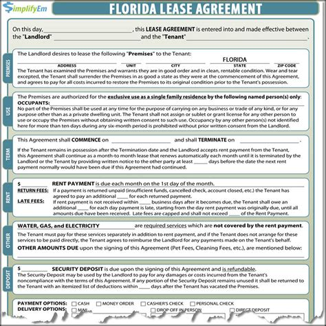 lease agreement template florida florida rental agreement