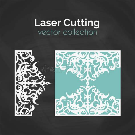 Laser Cut Card Template For Laser Cutting Cutout Illustration With Abstract Decoration Die Laser Cut L Template