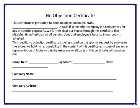 no objection certificate template free word templates