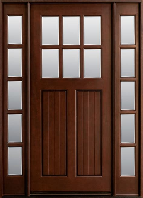 wood entry doors front door custom single with 2 sidelites solid wood with mahogany finish classic