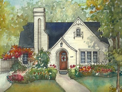 house portrait artist house painting in watercolor with ink details custom portrait