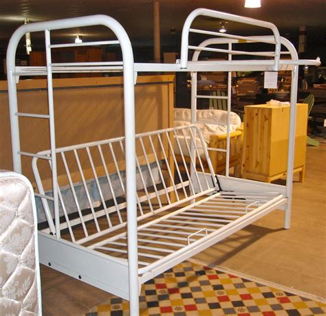 Metal White Bunk Beds White Metal Bunk Bed With Futon Bm Furnititure