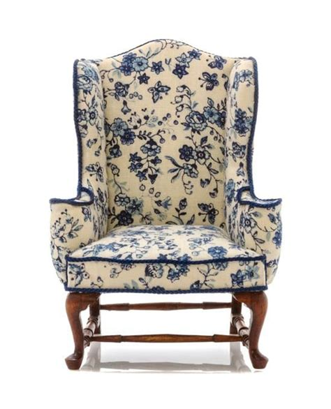 Blue And White Upholstered Chairs An American Upholstered Wingback Armchair Height 4 Inches