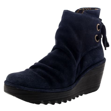 Wedges Import 7cm womens fly yama lace up suede winter wedge heel ankle boots us 5 12 ebay