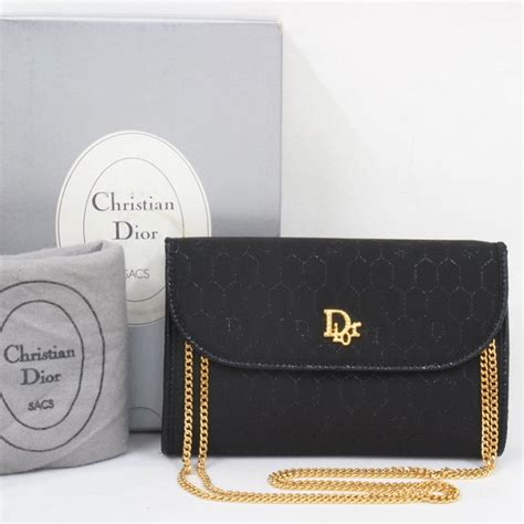 vintage christian dior monogram thin gold chain black