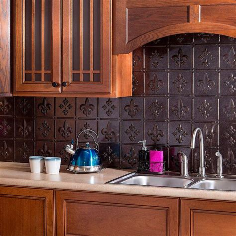 fasade      lotus pvc decorative tile backsplash  smoked pewter    home depot