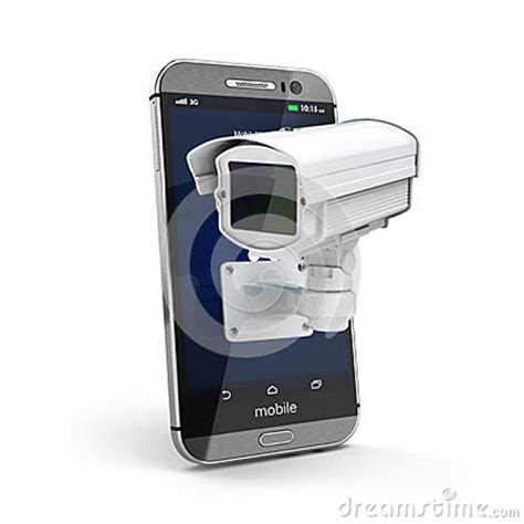 mobile phone with cctv camera. security or privacy concept