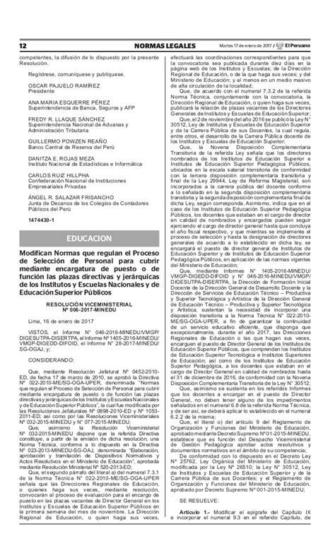 norma para proceso de encargatura de plazas de director teresa clotilde ojeda s 225 nchez rvm 006 2017 minedu
