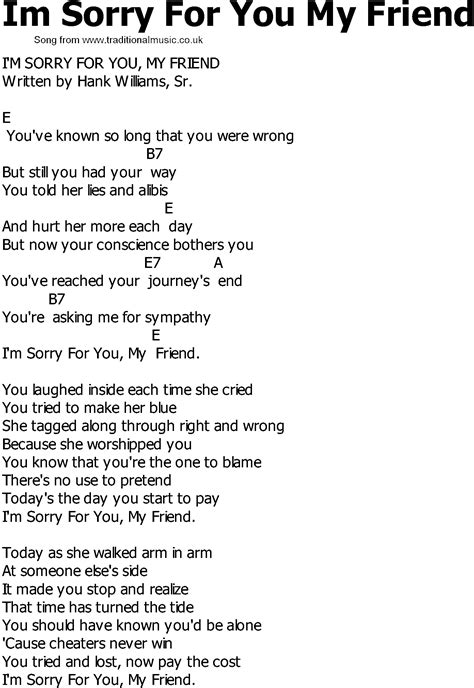 song for a friend country song lyrics with chords im sorry for you my
