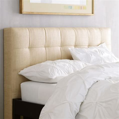 tufted fabric headboards grid tufted headboard west elm