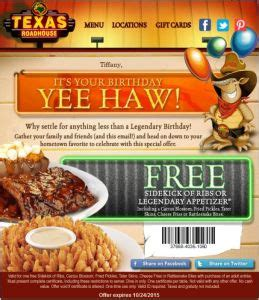 texas roadhouse printable coupons yee haw it s your birthday target marketing