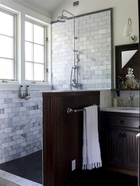 Beadboard Shower Partition Contemporary Bathroom