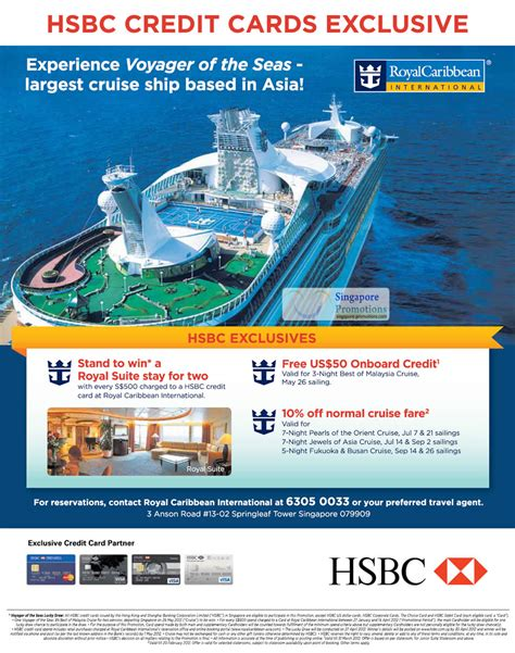 Royal Caribbean Gift Card Discount - royal caribbean voyager of the seas 10 off for hsbc cardmembers 27 jan 20 feb 2012