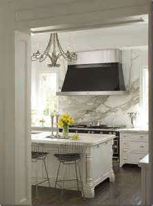cool kitchen design with marble backsplashes