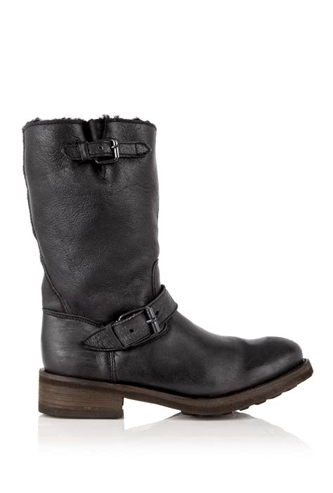 Ash Black Tundra Shearling Pull On Motorcycle Boot In