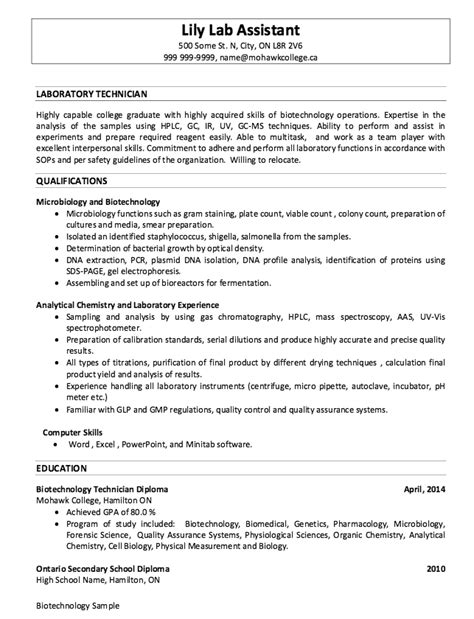 sle of laboratory technician resumes http resumesdesign sle of laboratory