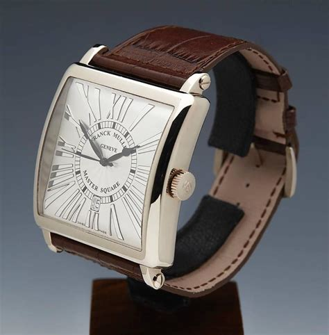 Franck Muller Master Square Rosegold Black Leather franck muller white gold master square automatic wristwatch at 1stdibs