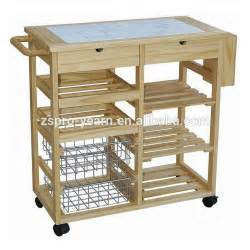 modern design wooden kitchen trolley with 3 tier 4 wheels 1 handle foldable table board for home