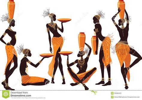 Mulheres africanas ilustração do vetor. Ilustração de elegante   30068423