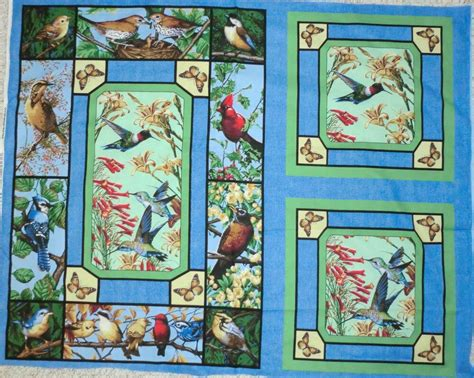 bird fabric  pillow panel quilt top wallhang backyard