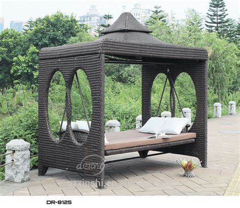 rattan swing high quality four seats rattan patio swing with canopy