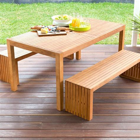 outdoor table and bench 3 piece wooden table and bench set kmart