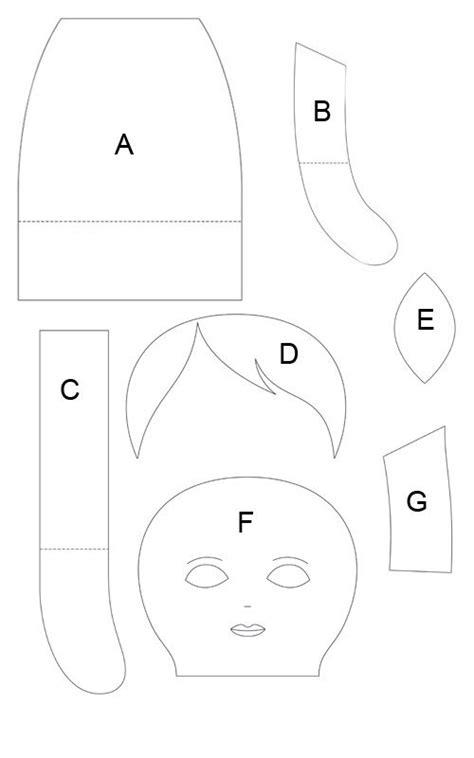rag doll template 8 best images of printable rag doll sewing pattern free