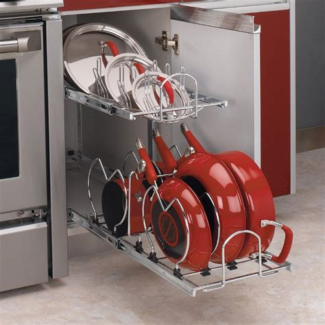 Rev A Shelf 2 Tier Cookware Organizer rev a shelf 5cw2 2 tier cookware organizer atg stores