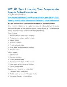Comprehensive Analysis Outline And Presentation Mgt 448 by Mgt 448 Week 2 Learning Team Comprehensive Analysis Outline Presentation Hashdoc
