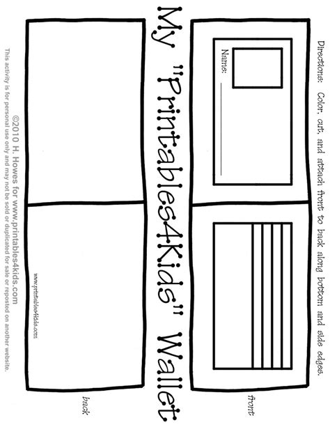 Print and play wallet activity for kids : Printables for