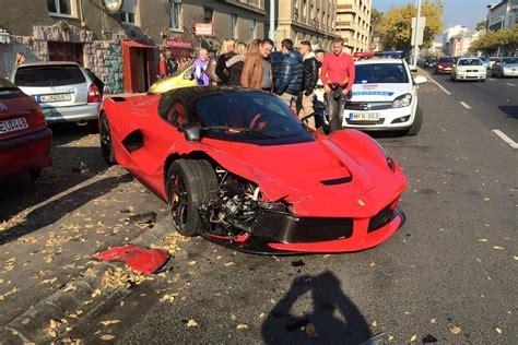 laferrari crash test updated laferrari crash driver loses in budapest