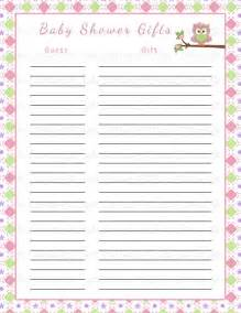free printable gift list template 8 best images of printable baby shower gift log baby