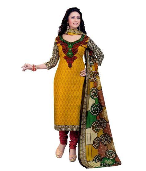 unstitched salwar suits online fashion valley yellow cotton unstitched salwar suit buy