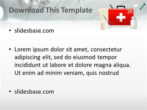 First Aid Kit 3d Powerpoint Template Slidesbase Aid Powerpoint Template