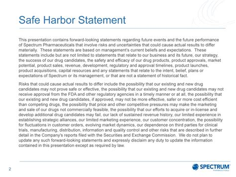 Form 8 K Spectrum Pharmaceuticals For Mar 13 Safe Harbor Statement Template
