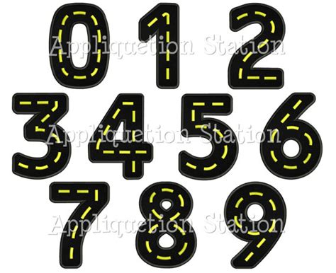 free printable road numbers road birthday number set applique machine embroidery