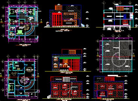 cafe building dwg block  autocad designs cad