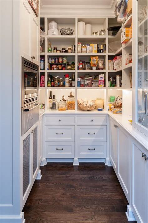shaped kitchen pantry  microwave nook transitional