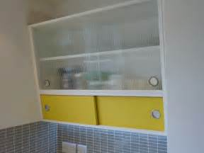 Kitchen Wall Cabinet Doors 1950 S Style Angled Wall Cabinet With Formica And Reeded Glass Doors Custom Made Reproduction