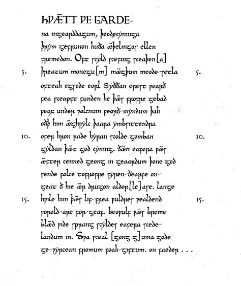 Beowulf Summary By Section by Beowulf Lines