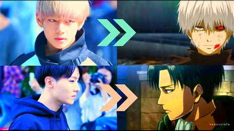 bts  anime characters  real life youtube