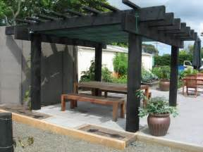 Stained Pergola by Rustic Pergola Stained Black Bancas Cercas Y Caminos