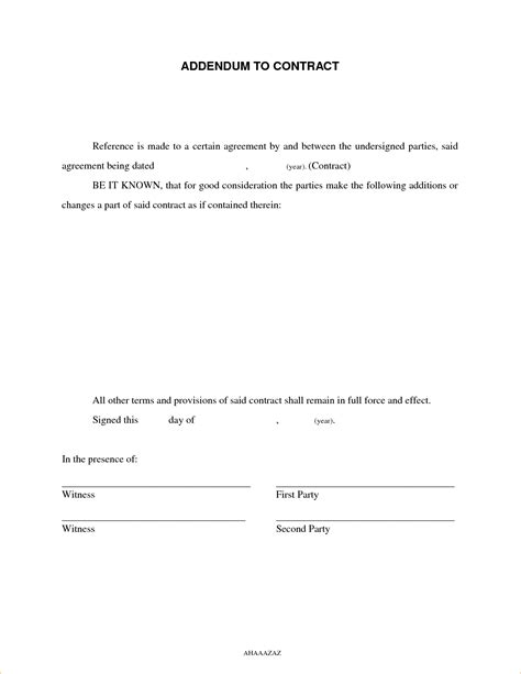 6 Contract Addendum Template Timeline Template Addendum To Contract Template Word