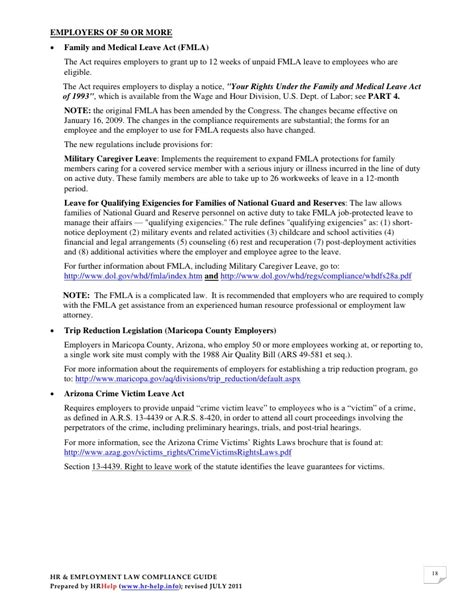 Insurance Recoupment Letter Hr Employment Compliance Guide For Arizona Employers