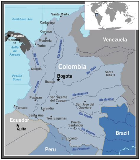 colombia map of the world columbia on world map timekeeperwatches