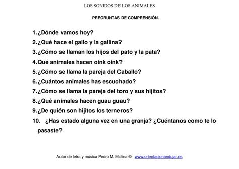 los sonidos de los animales preguntas de comprensi 243 n - Preguntas Interesantes Sexuales