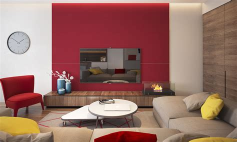 red accent wall two homes with colorful kids rooms included