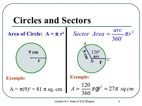 area of a circle section surface area