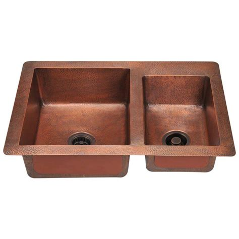 copper kitchen sinks polaris sinks undermount copper 33 in double bowl kitchen